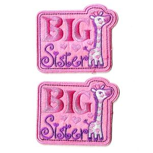NEW 2-PACK BIG SISTER BADGES EASY IRON ON PATCHES